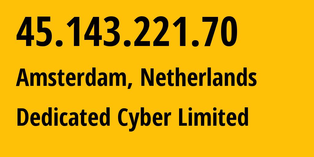 IP address 45.143.221.70 (Nuremberg, Bavaria, Germany) get location, coordinates on map, ISP provider AS213371 Squitter Networks // who is provider of ip address 45.143.221.70, whose IP address