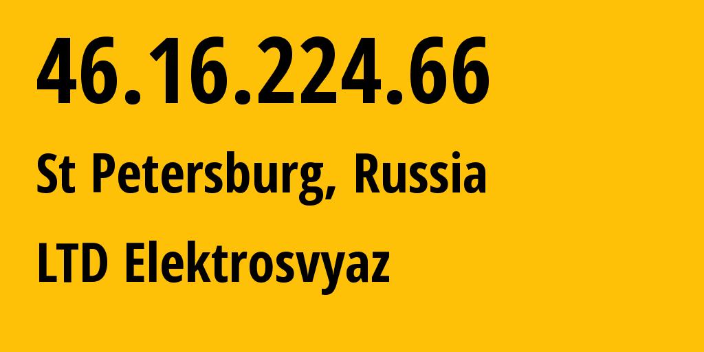 IP address 46.16.224.66 (Khasavyurt, Dagestan, Russia) get location, coordinates on map, ISP provider AS44391 LTD Elektrosvyaz // who is provider of ip address 46.16.224.66, whose IP address