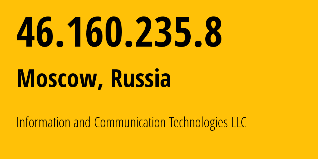 IP address 46.160.235.8 (Shchelkovo, Moscow Oblast, Russia) get location, coordinates on map, ISP provider AS35539 Elsite // who is provider of ip address 46.160.235.8, whose IP address