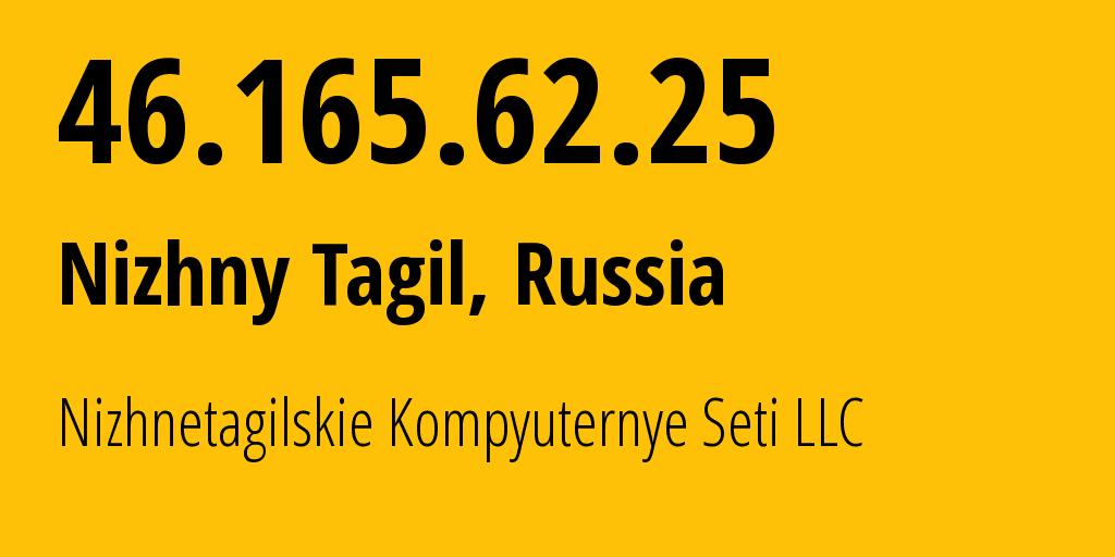 IP address 46.165.62.25 (Nizhny Tagil, Sverdlovsk Oblast, Russia) get location, coordinates on map, ISP provider AS49218 Nizhnetagilskie Kompyuternye Seti LLC // who is provider of ip address 46.165.62.25, whose IP address