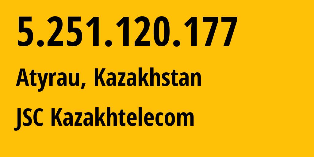 IP address 5.251.120.177 (Atyrau, Atyrau Oblysy, Kazakhstan) get location, coordinates on map, ISP provider AS9198 JSC Kazakhtelecom // who is provider of ip address 5.251.120.177, whose IP address