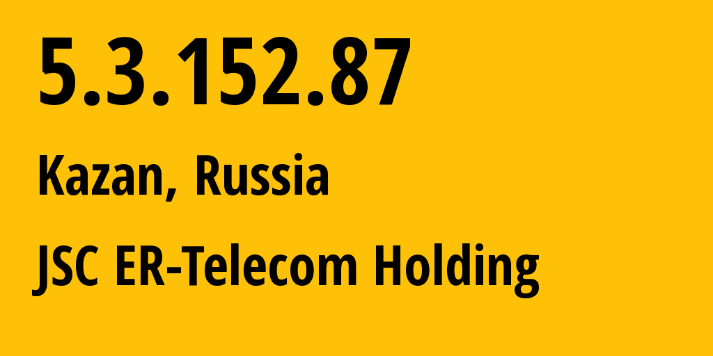 IP address 5.3.152.87 (Kazan, Tatarstan Republic, Russia) get location, coordinates on map, ISP provider AS41668 JSC ER-Telecom Holding // who is provider of ip address 5.3.152.87, whose IP address