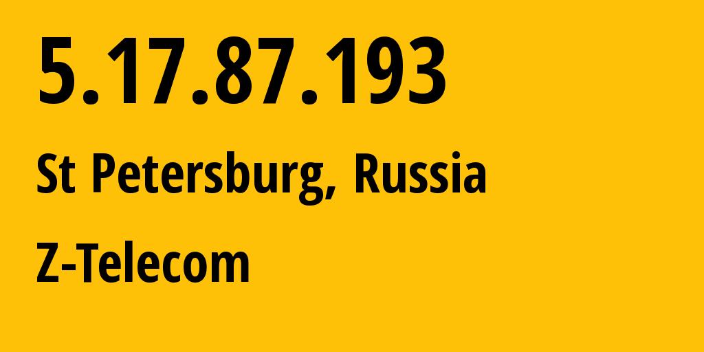 IP address 5.17.87.193 (Kronstadt, St.-Petersburg, Russia) get location, coordinates on map, ISP provider AS41733 Z-Telecom // who is provider of ip address 5.17.87.193, whose IP address