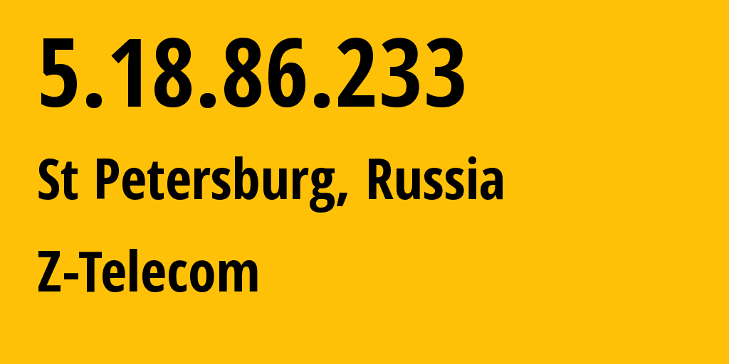 IP address 5.18.86.233 (St Petersburg, St.-Petersburg, Russia) get location, coordinates on map, ISP provider AS41733 Z-Telecom // who is provider of ip address 5.18.86.233, whose IP address