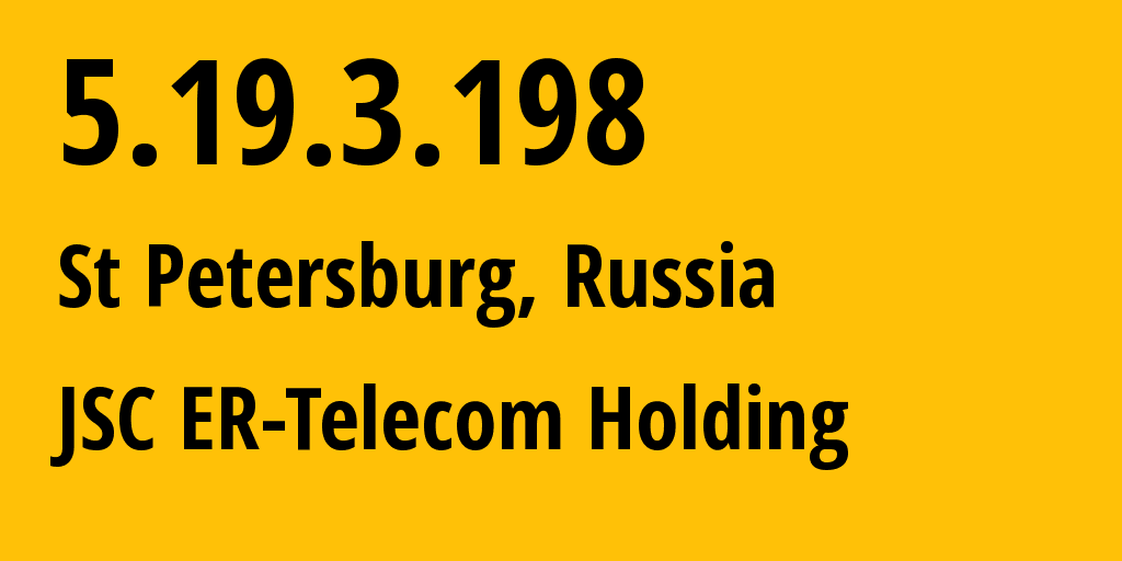 IP address 5.19.3.198 (St Petersburg, St.-Petersburg, Russia) get location, coordinates on map, ISP provider AS41733 Z-Telecom // who is provider of ip address 5.19.3.198, whose IP address