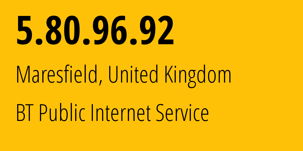 IP address 5.80.96.92 (Finchley, England, United Kingdom) get location, coordinates on map, ISP provider AS2856 BT Public Internet Service // who is provider of ip address 5.80.96.92, whose IP address