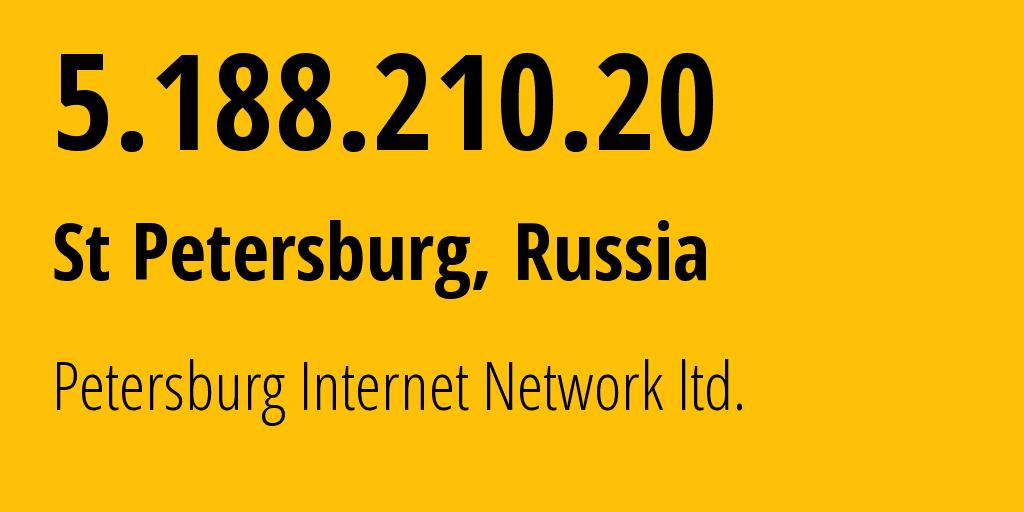 IP address 5.188.210.20 (St Petersburg, St.-Petersburg, Russia) get location, coordinates on map, ISP provider AS34665 PIN DC // who is provider of ip address 5.188.210.20, whose IP address