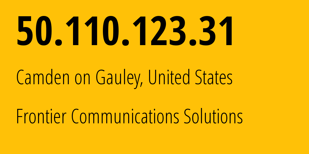 IP address 50.110.123.31 (Wallback, West Virginia, United States) get location, coordinates on map, ISP provider AS5650 Frontier Communications Solutions // who is provider of ip address 50.110.123.31, whose IP address