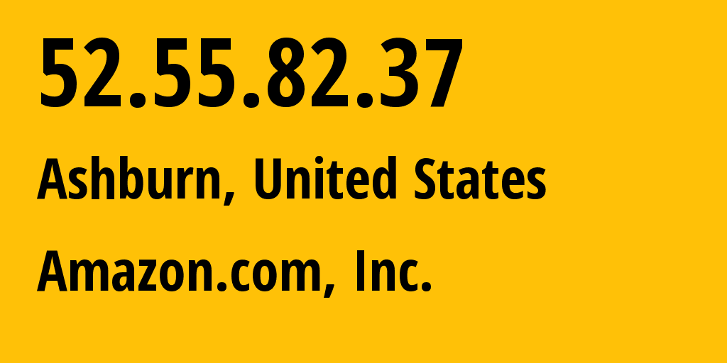 IP address 52.55.82.37 (Ashburn, Virginia, United States) get location, coordinates on map, ISP provider AS14618 Amazon.com, Inc. // who is provider of ip address 52.55.82.37, whose IP address