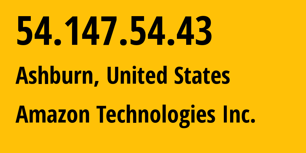 IP address 54.147.54.43 (Ashburn, Virginia, United States) get location, coordinates on map, ISP provider AS14618 Amazon Technologies Inc. // who is provider of ip address 54.147.54.43, whose IP address