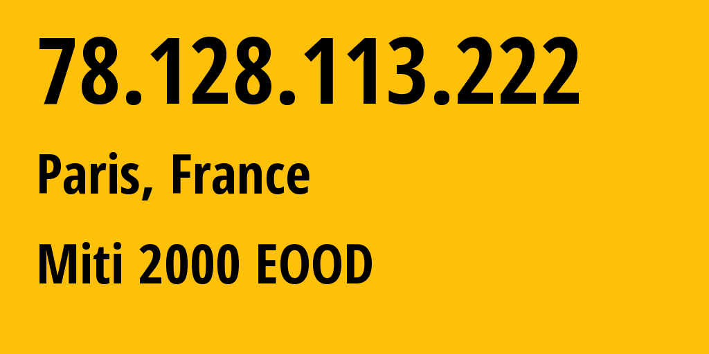 IP address 78.128.113.222 (Sofia, Sofia-Capital, Bulgaria) get location, coordinates on map, ISP provider AS209160 Miti 2000 EOOD // who is provider of ip address 78.128.113.222, whose IP address