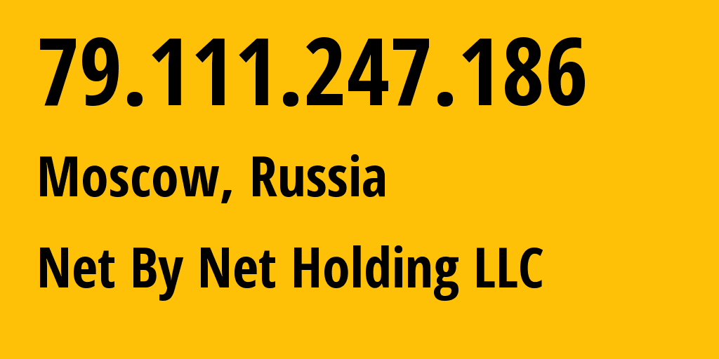 IP address 79.111.247.186 (Moscow, Moscow, Russia) get location, coordinates on map, ISP provider AS12714 Net By Net Holding LLC // who is provider of ip address 79.111.247.186, whose IP address