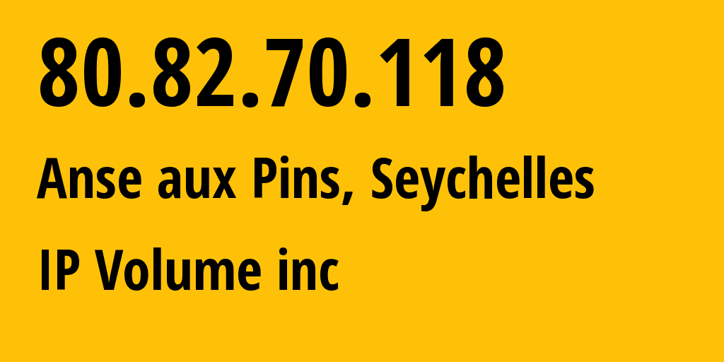 IP address 80.82.70.118 (Anse aux Pins, Anse-aux-Pins, Seychelles) get location, coordinates on map, ISP provider AS202425 IP Volume inc // who is provider of ip address 80.82.70.118, whose IP address