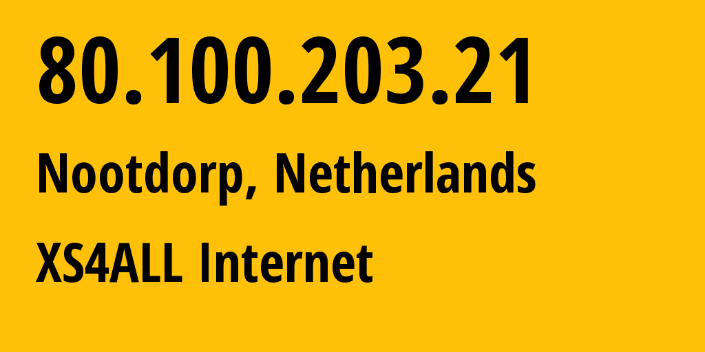 IP address 80.100.203.21 (Breukelen, Provincie Utrecht, Netherlands) get location, coordinates on map, ISP provider AS3265 XS4ALL Internet // who is provider of ip address 80.100.203.21, whose IP address