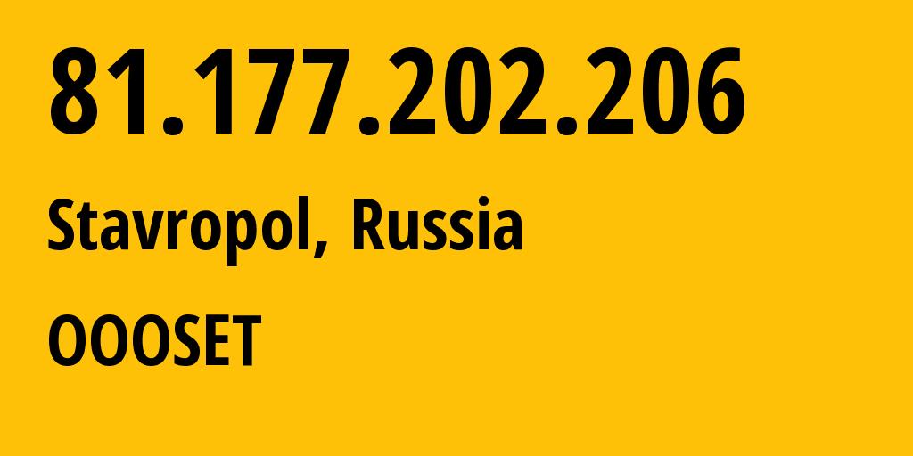 IP address 81.177.202.206 (Stavropol, Stavropol Kray, Russia) get location, coordinates on map, ISP provider AS48176 OOOSET // who is provider of ip address 81.177.202.206, whose IP address