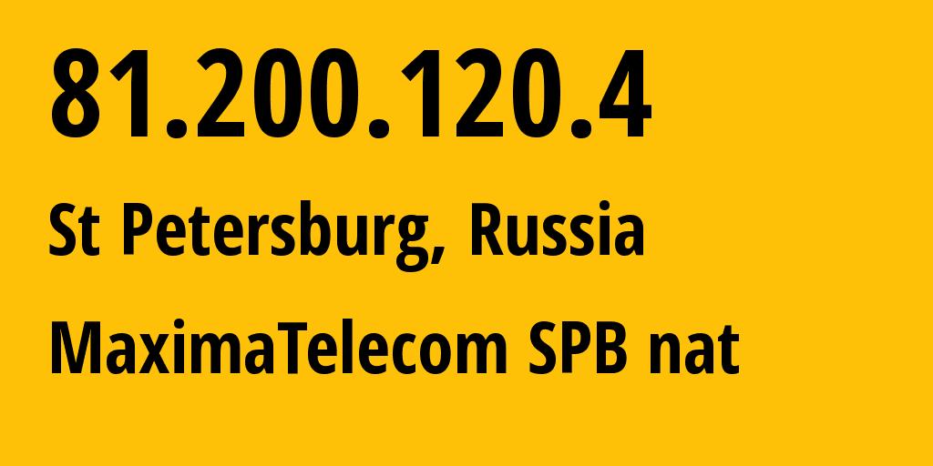 IP address 81.200.120.4 (St Petersburg, St.-Petersburg, Russia) get location, coordinates on map, ISP provider AS52060 MaximaTelecom SPB nat // who is provider of ip address 81.200.120.4, whose IP address
