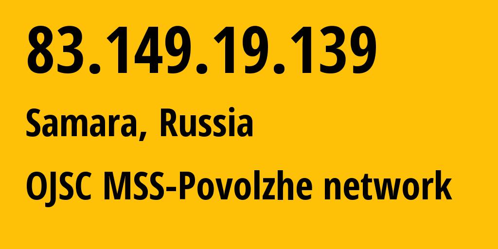 IP address 83.149.19.139 (Samara, Samara Oblast, Russia) get location, coordinates on map, ISP provider AS31133 OJSC MSS-Povolzhe network // who is provider of ip address 83.149.19.139, whose IP address