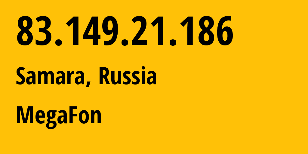 IP address 83.149.21.186 (Samara, Samara Oblast, Russia) get location, coordinates on map, ISP provider AS31133 OJSC MSS-Povolzhe network // who is provider of ip address 83.149.21.186, whose IP address