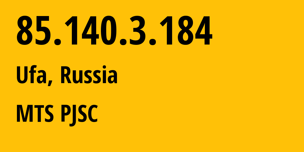 IP address 85.140.3.184 (Kazan, Tatarstan Republic, Russia) get location, coordinates on map, ISP provider AS8359 MTS PJSC // who is provider of ip address 85.140.3.184, whose IP address