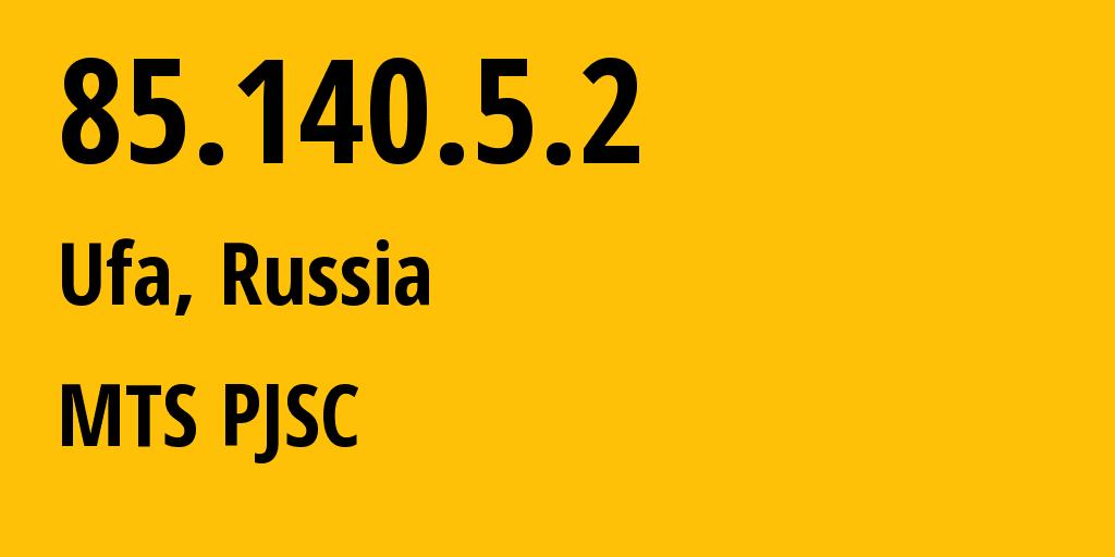 IP address 85.140.5.2 (Kazan, Tatarstan Republic, Russia) get location, coordinates on map, ISP provider AS8359 MTS PJSC // who is provider of ip address 85.140.5.2, whose IP address