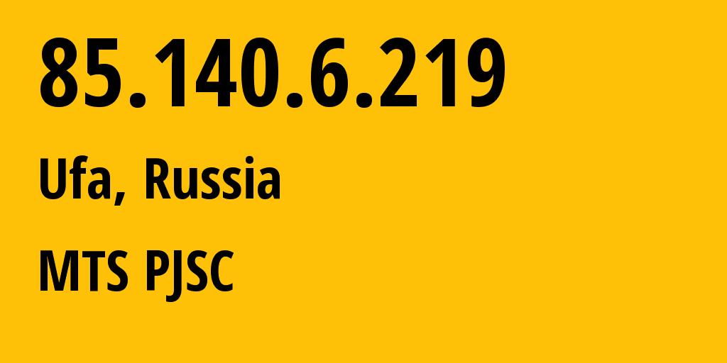 IP address 85.140.6.219 (Kazan, Tatarstan Republic, Russia) get location, coordinates on map, ISP provider AS8359 MTS PJSC // who is provider of ip address 85.140.6.219, whose IP address