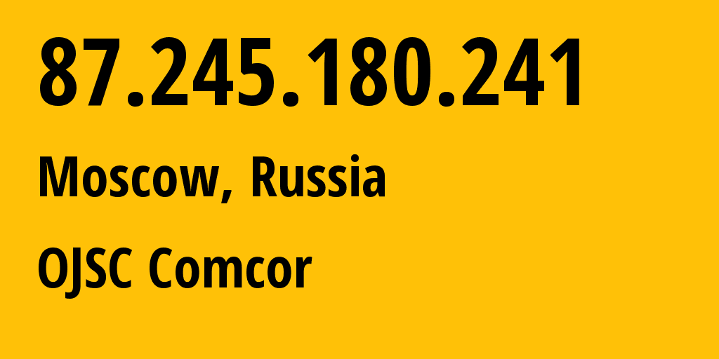IP address 87.245.180.241 (Moscow, Moscow, Russia) get location, coordinates on map, ISP provider AS8732 OJSC Comcor // who is provider of ip address 87.245.180.241, whose IP address