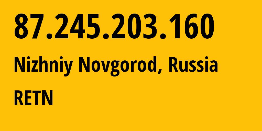 IP address 87.245.203.160 (Nizhniy Novgorod, Nizhny Novgorod Oblast, Russia) get location, coordinates on map, ISP provider AS9002 RETN // who is provider of ip address 87.245.203.160, whose IP address