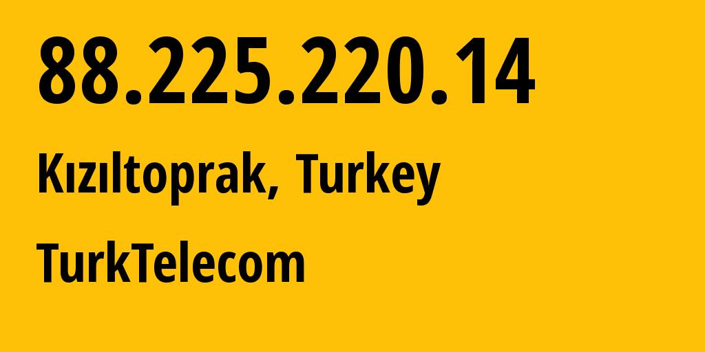 IP address 88.225.220.14 (Antalya, Antalya, Turkey) get location, coordinates on map, ISP provider AS9121 TurkTelecom // who is provider of ip address 88.225.220.14, whose IP address