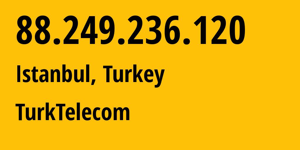 IP address 88.249.236.120 (Ulus, Bartın, Turkey) get location, coordinates on map, ISP provider AS9121 TurkTelecom // who is provider of ip address 88.249.236.120, whose IP address