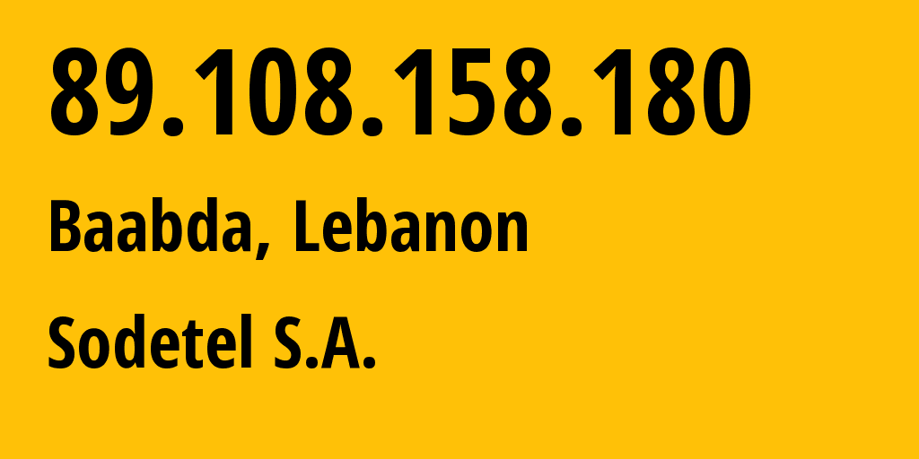 IP address 89.108.158.180 (Beirut, Beyrouth, Lebanon) get location, coordinates on map, ISP provider AS31126 Sodetel S.A. // who is provider of ip address 89.108.158.180, whose IP address