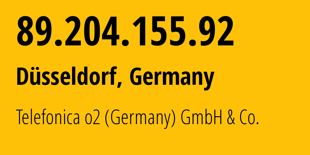 IP address 89.204.155.92 (Essen, North Rhine-Westphalia, Germany) get location, coordinates on map, ISP provider AS6805 Telefonica o2 (Germany) GmbH & Co. // who is provider of ip address 89.204.155.92, whose IP address