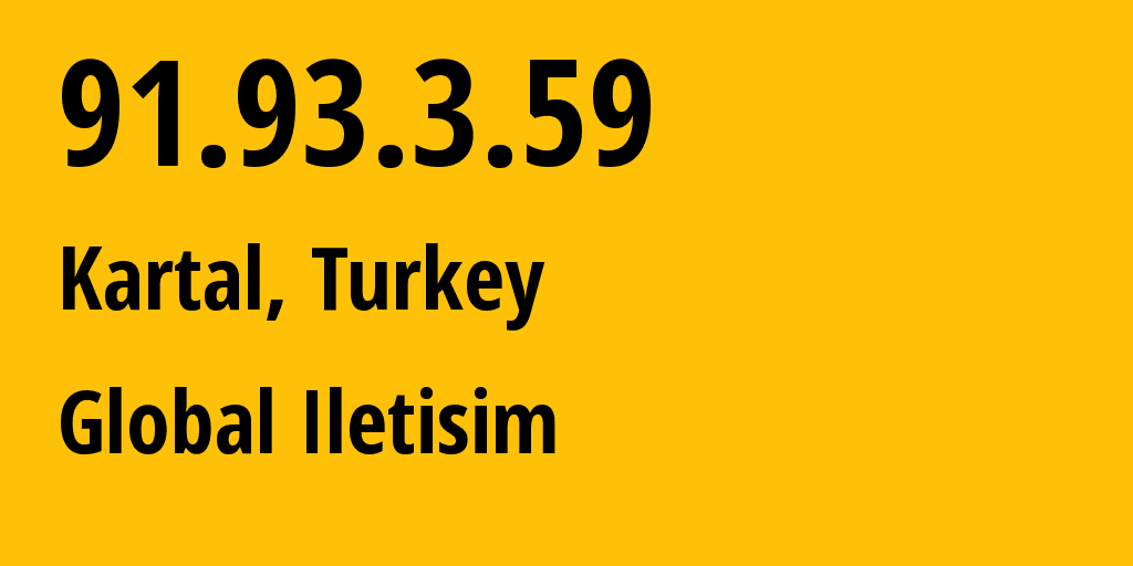 IP address 91.93.3.59 (Istanbul, Istanbul, Turkey) get location, coordinates on map, ISP provider AS34984 Global Iletisim // who is provider of ip address 91.93.3.59, whose IP address