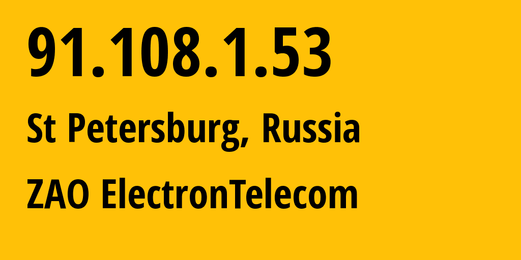 IP address 91.108.1.53 (St Petersburg, St.-Petersburg, Russia) get location, coordinates on map, ISP provider AS42065 eTelecom NAT NETWORK // who is provider of ip address 91.108.1.53, whose IP address
