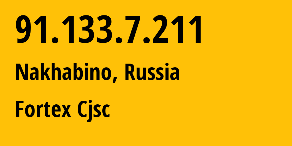 IP address 91.133.7.211 (Moscow, Moscow, Russia) get location, coordinates on map, ISP provider AS48166 Fortex Cjsc // who is provider of ip address 91.133.7.211, whose IP address