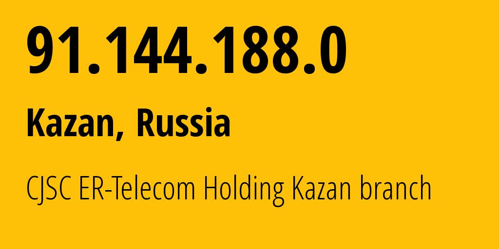 IP address 91.144.188.0 (Kazan, Tatarstan Republic, Russia) get location, coordinates on map, ISP provider AS41668 CJSC ER-Telecom Holding Kazan branch // who is provider of ip address 91.144.188.0, whose IP address