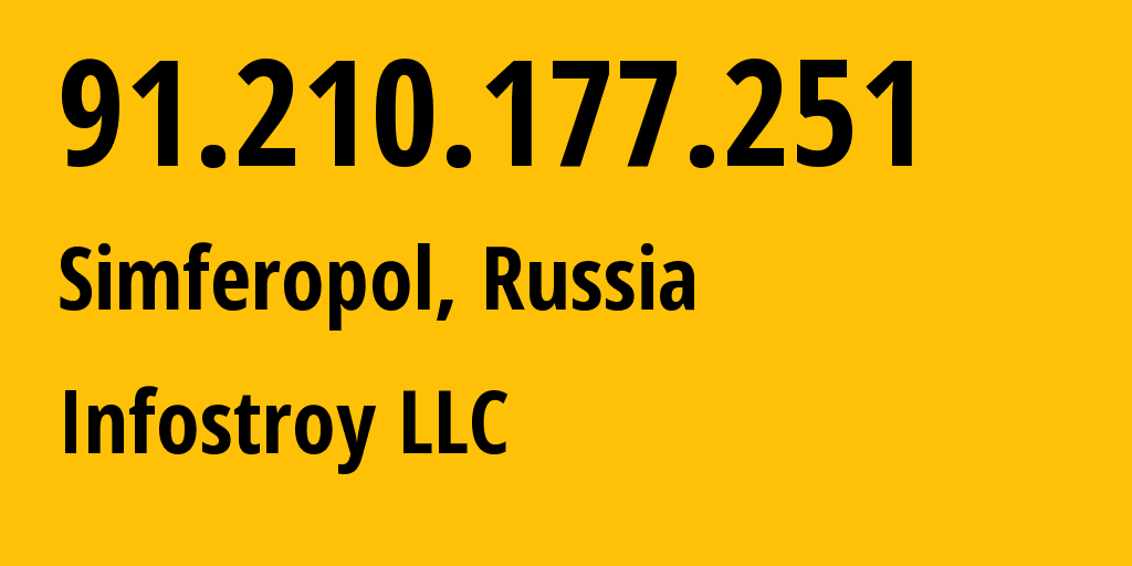 IP address 91.210.177.251 (Voronezh, Voronezh Oblast, Russia) get location, coordinates on map, ISP provider AS208397 Infostroy LLC // who is provider of ip address 91.210.177.251, whose IP address