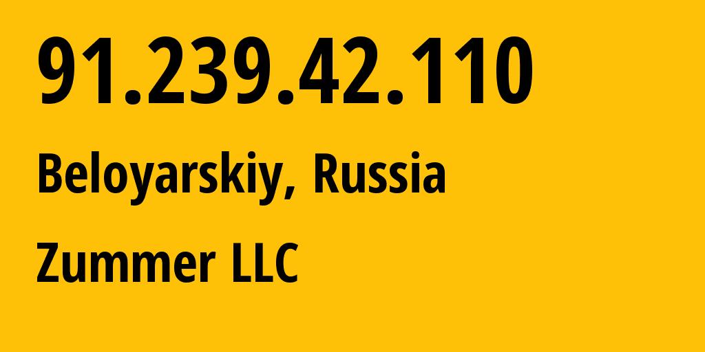 IP address 91.239.42.110 (Tyumen, Tyumen Oblast, Russia) get location, coordinates on map, ISP provider AS51028 Zummer LLC // who is provider of ip address 91.239.42.110, whose IP address