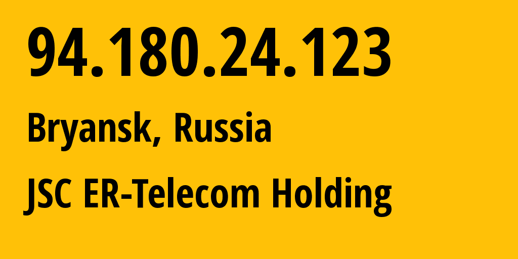 IP address 94.180.24.123 (Bryansk, Bryansk Oblast, Russia) get location, coordinates on map, ISP provider AS57044 JSC ER-Telecom Holding // who is provider of ip address 94.180.24.123, whose IP address