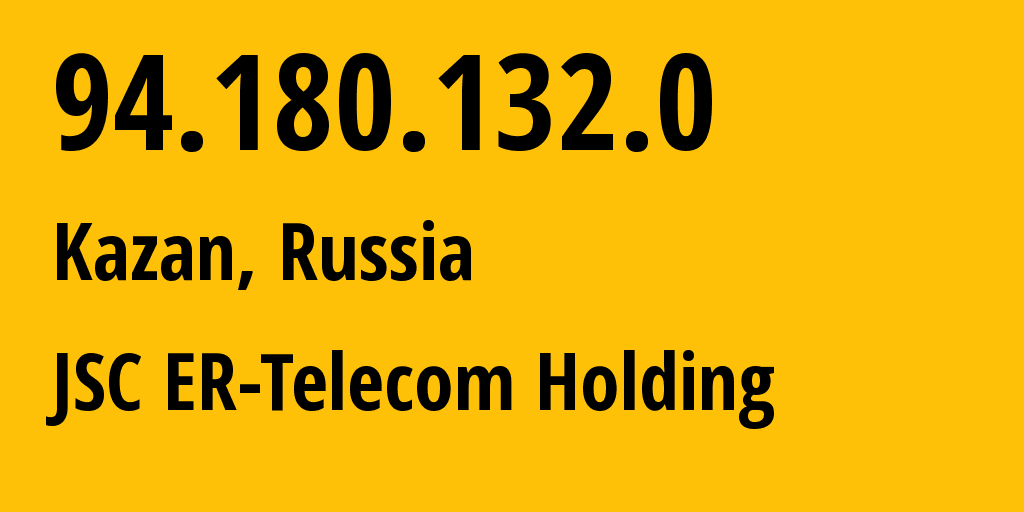 IP address 94.180.132.0 (Kazan, Tatarstan Republic, Russia) get location, coordinates on map, ISP provider AS41668 JSC ER-Telecom Holding // who is provider of ip address 94.180.132.0, whose IP address