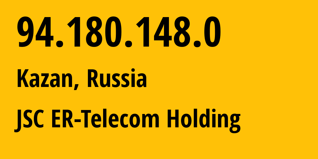 IP address 94.180.148.0 (Kazan, Tatarstan Republic, Russia) get location, coordinates on map, ISP provider AS41668 JSC ER-Telecom Holding // who is provider of ip address 94.180.148.0, whose IP address