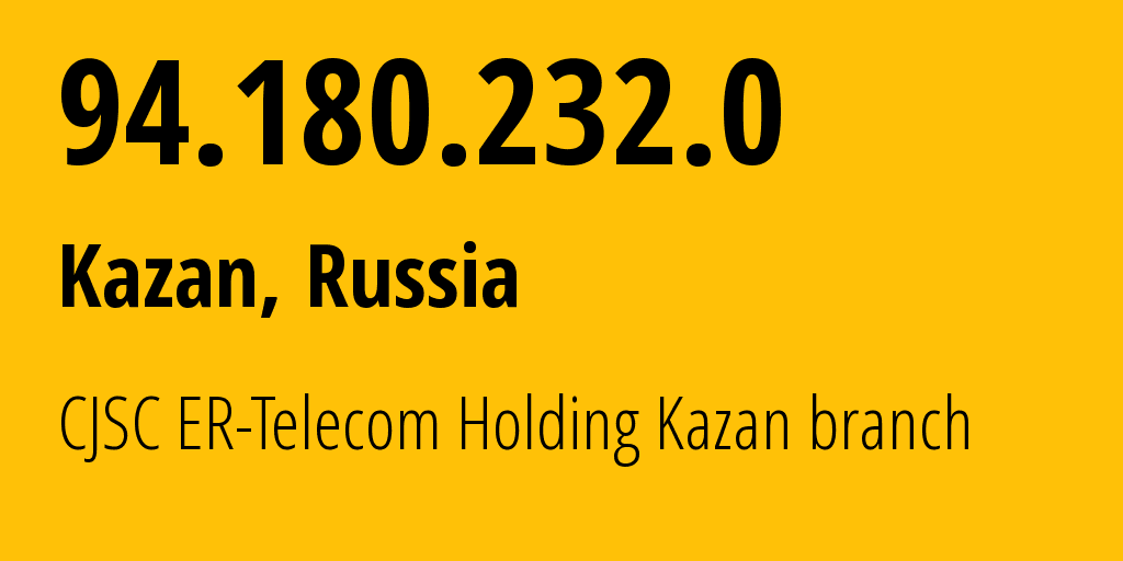 IP address 94.180.232.0 (Kazan, Tatarstan Republic, Russia) get location, coordinates on map, ISP provider AS41668 CJSC ER-Telecom Holding Kazan branch // who is provider of ip address 94.180.232.0, whose IP address