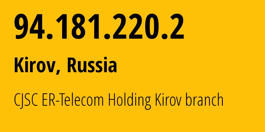 IP address 94.181.220.2 (Kirov, Kirov Oblast, Russia) get location, coordinates on map, ISP provider AS41727 CJSC ER-Telecom Holding Kirov branch // who is provider of ip address 94.181.220.2, whose IP address