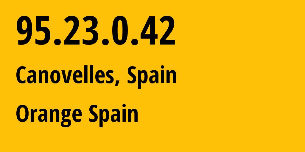 IP address 95.23.0.42 (Cardedeu, Catalonia, Spain) get location, coordinates on map, ISP provider AS12479 Orange Spain // who is provider of ip address 95.23.0.42, whose IP address