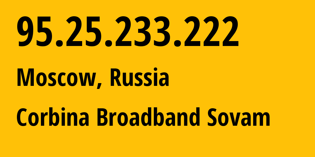 IP address 95.25.233.222 (Moscow, Moscow, Russia) get location, coordinates on map, ISP provider AS8402 Corbina Broadband Sovam // who is provider of ip address 95.25.233.222, whose IP address
