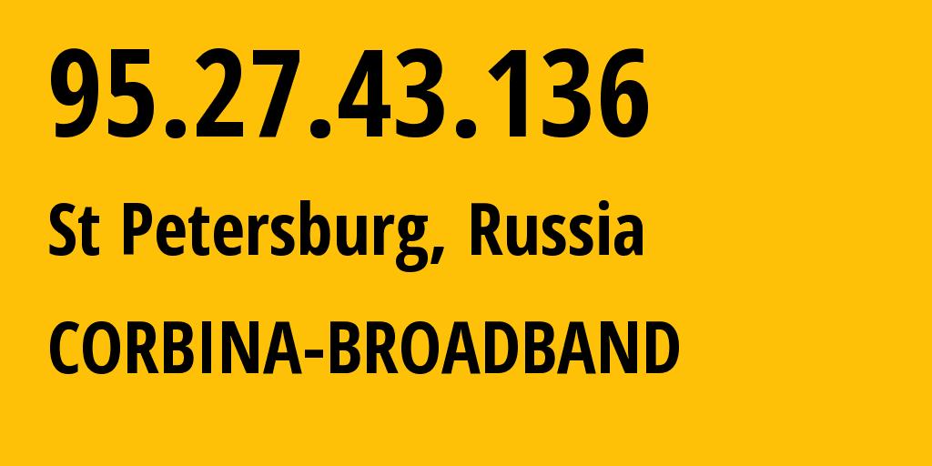 IP address 95.27.43.136 (St Petersburg, St.-Petersburg, Russia) get location, coordinates on map, ISP provider AS8402 CORBINA-BROADBAND // who is provider of ip address 95.27.43.136, whose IP address