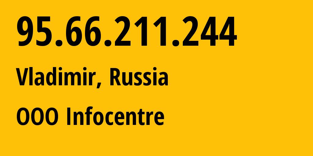 IP address 95.66.211.244 (Gus-Khrustalnyy, Vladimirskaya Oblast, Russia) get location, coordinates on map, ISP provider AS35645 OOO Infocentre // who is provider of ip address 95.66.211.244, whose IP address