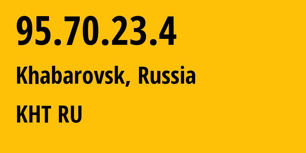 IP address 95.70.23.4 (Khabarovsk, Khabarovsk, Russia) get location, coordinates on map, ISP provider AS12389 KHT RU // who is provider of ip address 95.70.23.4, whose IP address