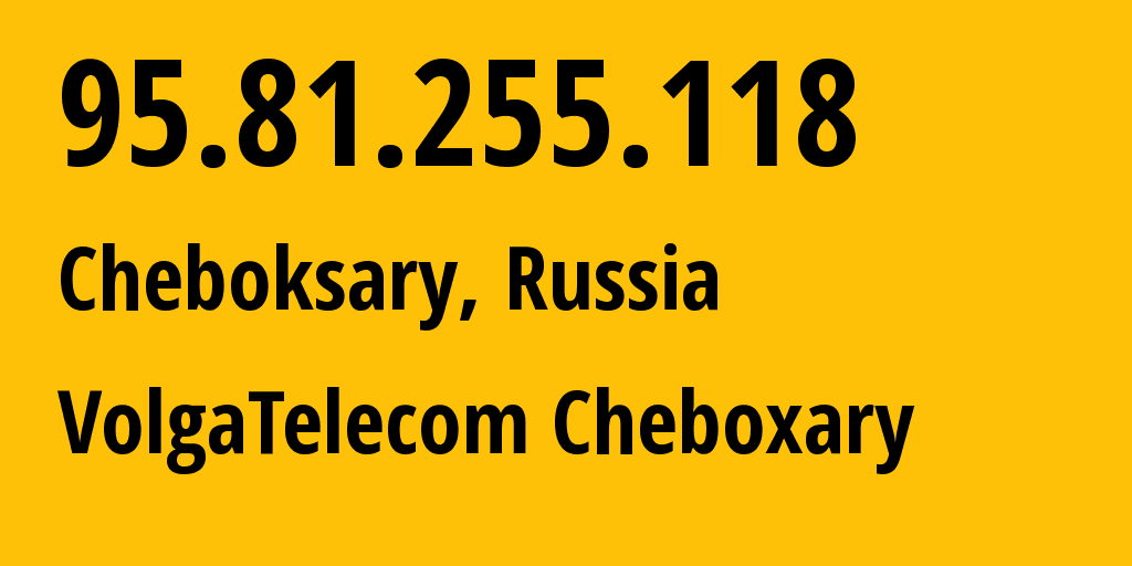 IP address 95.81.255.118 (Cheboksary, Chuvashia, Russia) get location, coordinates on map, ISP provider AS12389 VolgaTelecom Cheboxary // who is provider of ip address 95.81.255.118, whose IP address