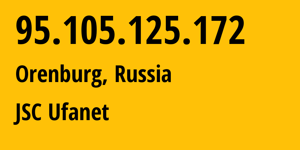 IP address 95.105.125.172 (Orenburg, Orenburg Oblast, Russia) get location, coordinates on map, ISP provider AS41704 JSC Ufanet // who is provider of ip address 95.105.125.172, whose IP address