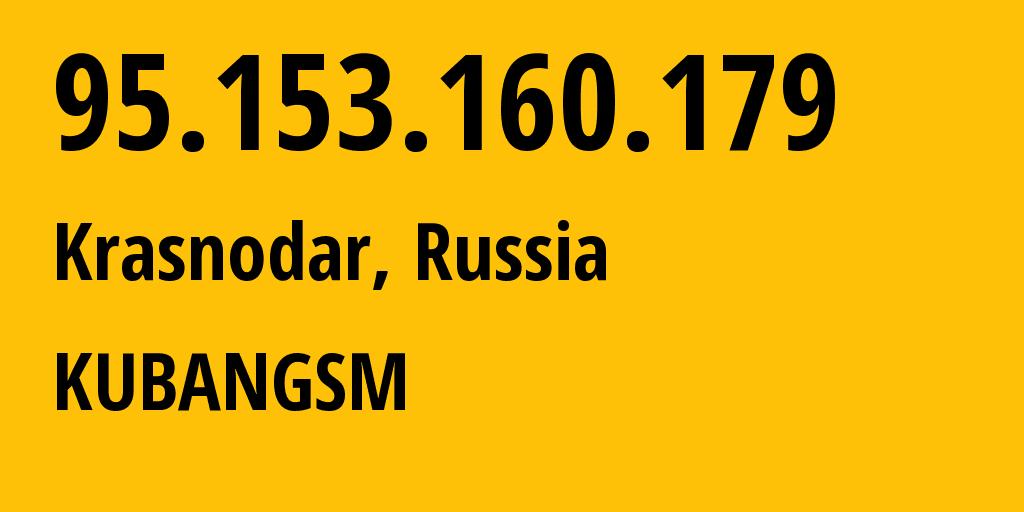 IP address 95.153.160.179 (Krasnodar, Krasnodarskiy Kray, Russia) get location, coordinates on map, ISP provider AS8359 KUBANGSM // who is provider of ip address 95.153.160.179, whose IP address